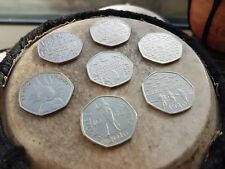 Collection of  7 rare 50p pence pieces VC/Battle Of Britaim/ Peter Rabbit + more