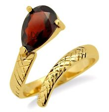Women's Snake Garnet Head Ring in Solid 14k Yellow Gold