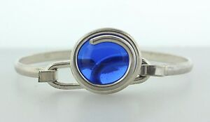 """Sterling Silver 925 Wire Wrap Blue Glass Marble Hinged Bangle Bracelet - 5.75"""""""