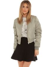 Stussy Womens Airforce Grey Luxe Satin Cropped Bomber Jacket size 12