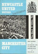 NEWCASTLE United v MANCHESTER CITY - 30 November 1974 (3.15) Football Programme