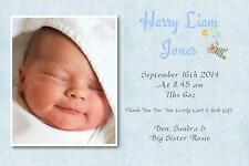 40 Personalised Baby Thank You Announcement cards BOY Posted First Class nx
