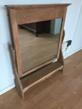 Large Vintage Rustic Oak Solid Oak Dressing Table Swing Mirror Stripped  Back