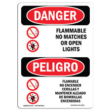 Osha Danger - Flammable No Matches Open Lights Bilingual | Sign or Label