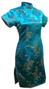 UK Stock Turquoise Dragon & Phoenix Chinese Short Evening Party Dress Cheongsam