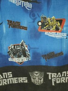 """Vintage Transformers Twin Bed  Sheet. Size Flat 93"""" × 65""""    Fabric Blue."""