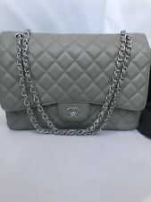 Chanel Grey Double Flap Maxi Caviar Leather