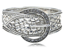 Silver Bangle Grey Rhinestones Reptile Skin Belt Buckle Halloween Bracelet New