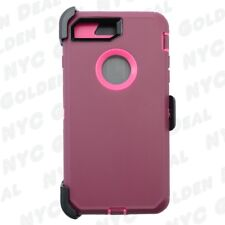 Plum Pink for Apple iPhone 8 Defender Case Cover (Belt Clip Fits Otterbox)