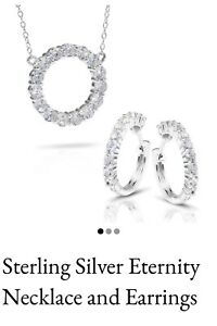 Sterling Silver DiamondAura Eternity Circle Of Love Necklace & Earrings Set