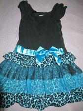 euc Rare too black blue leopard tulle tiered ruffle dress girls ~5 free ship Usa