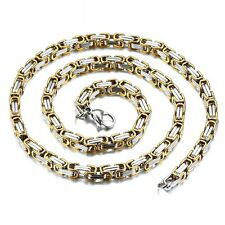 60cm / φ5mm BIZANTINO Collar Collar Big Cadena Acero Inoxidable Oro Plata NUEVO