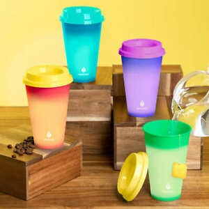 MANNA 12 Pack HOT Color Changing Reusable To Go Cups Set NEW 16oz 473mL w/ Lids