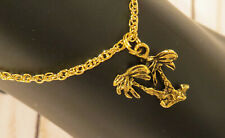 Plate Or Oms & Silver Plate Vacation Palm Trees Ankle Bracelet Anklet 24 Kt Gold