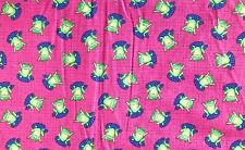 Smiling Frogs on Blue Lily Pads on Dark Pink Background - 2 yards