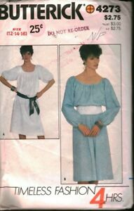 4273 Butterick SEWING Pattern Misses Very Loose Fitting Pullover Dress 4 Hour 12