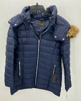 Marc New York Womens Medium Puffer Jacket Navy Blue Fur Lined Hood Coat NWT