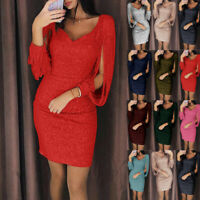Womens Sequin Dress Backless V Bodycon Cocktail Evening Wedding Party Dress UK