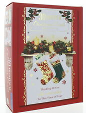 Bumper Box Of 30 Traditional Christmas Cards - 6 Scenic Designs Per Pack Foil