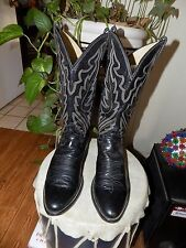 WEST TEXAS VTG BLACK JUSTIN HANDCRAFTED COWBOY BOOTS 9 D