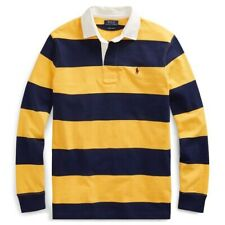Polo Ralph Lauren Iconic Striped Colorblock Rugby Shirt Yellow Navy NWT Men's L