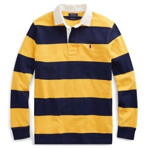 Polo Ralph Lauren Iconic Striped Colorblock Rugby Shirt Yellow Navy NWOT Men's L