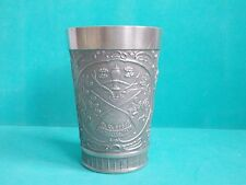 GERMAN PEWTER EMBOSSED DRINKING CUP HUNTING SCENE WAIDMANNS HEIL GRENNINGTON 95%