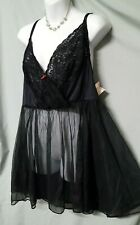 "Ventura Black  Babydoll Nightgown Sexy Sheer Size 1X 50"" BUST"