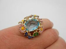 Large Italy 14k Solid Yellow Gold Flower Enamel & Natural Blue Topaz Ring Size 7