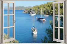 Huge 3D Window view Exotic Sailboat ocean Wall Sticker Film Decal 418