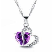 Pendant Fashion Heart Necklace Women Chain Crystal Rhinestone Silver Charm Gold