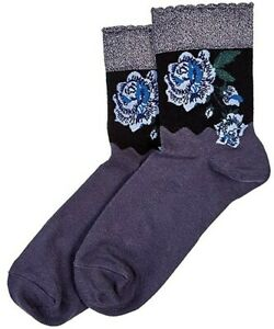 HUE Womens Metallic Rose Shortie Socks Cobblestone One Size - NWT