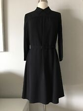 NEW PRADA BLACK CREPE COLLARED BELTED 3/4 SLEEVE DRESS SIZE IT 38 US 2