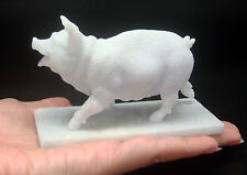 "Hand Made NATURAL BURMA WHITE ""A"" JADE Happy Pig Walking Figurine Carving Statue"