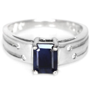 GENUINE AAA BLUE SAPPHIRE & WHITE CZ STERLING 925 SILVER RING SIZE 9.25