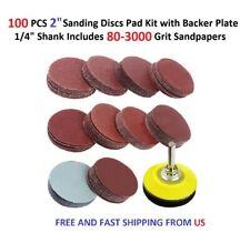 "100PCS 2"" Sanding Discs Pad Kit+Backer Plate 1/4"" Shank Includes 80-3000 Grit"