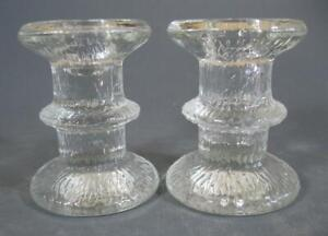 Retro/vintage 60s-70s clear art glass Iitala Finland candle holder x 2