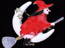 HAPPY HALLOWEEN RED WHITE MOON STARS FLYING BROOM WITCH PIN BROOCH JEWELRY 2.25""