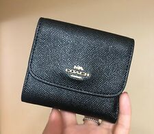 Coach F87588 Women Tri-fold Small Crossgrain Leather Wallet $135 Black