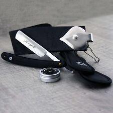3 Pieces Men's Shaving Kit In Black With Leather Strop,Straight razor & Paste.