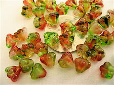 50 Peaches and Pears Bell Flower Czech Glass Beads 6mm x 4mm