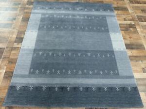 6'x8' New Best Quality Wool Lori Buft Super Gabbeh hand knotted Modern Gray Rug
