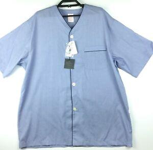 Brooks Brothers Short Sleeve Pajama Shirt Top Chambray Blue Men's Large New