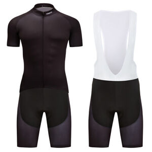 Men's Black Cycling Sports Clothing Short Jersey Bib Shorts Kits Full Zipper Pad