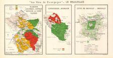 BURGUNDY BOURGOGNE WINE MAP Beaujolais vineyards vignobles AOCs. LARMAT 1953