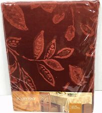 Autumn Fall Leaves Tablecloth Oblong 60x84 Harvest Season Red Rust Thanksgiving