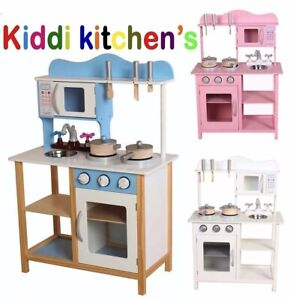 Kids wooden kitchen with free pans and utensils play kitchen in white blue pink