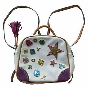 Dooney & Bourke #8 White Mini Daypack Brown Trim Rainbow Zipper Tassels Letters