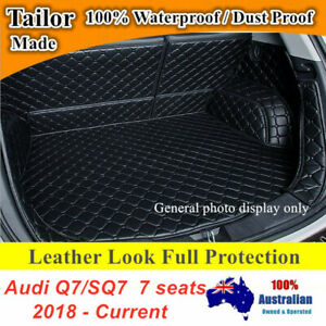 Black PU Leather Trunk Boot Liner Cargo Mats for 7 seats Audi Q7 SQ7 2018 - 2021