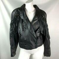 Vintage 80s Fringed Black leather Jacket medium short rocker Biker Womens